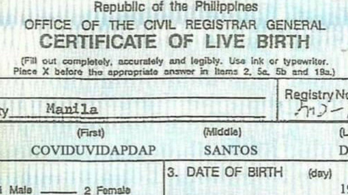 Akt urodzenia dziecka o imieniu Coviduvidapdap