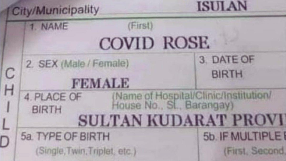 Akt urodzenia dziecka o imieniu Covid